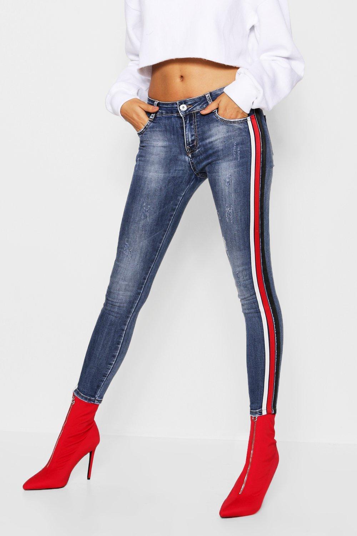 Mid Rise Side Stripe Skinny Jeans