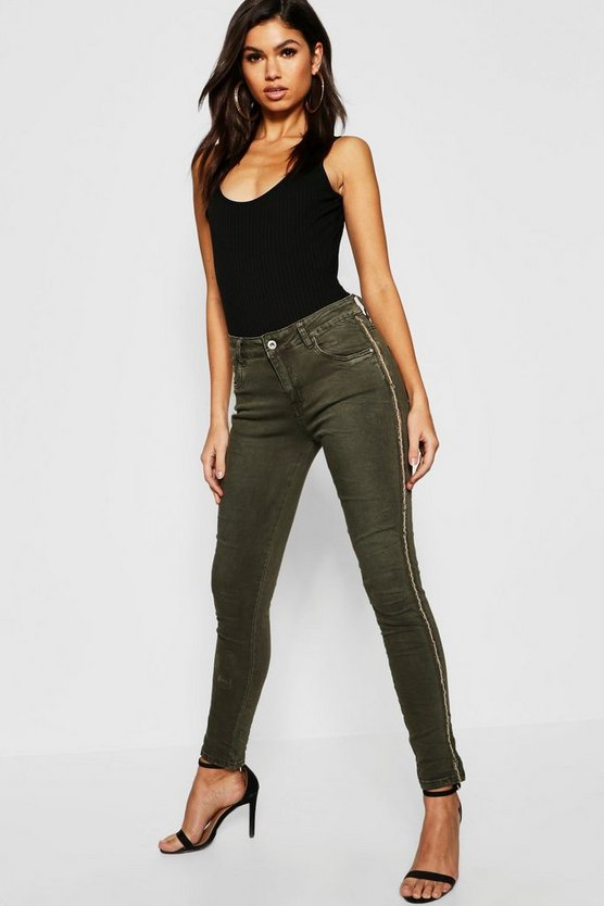 Womens Khaki Mid Rise Sequin side Stripe Skinny Jeans