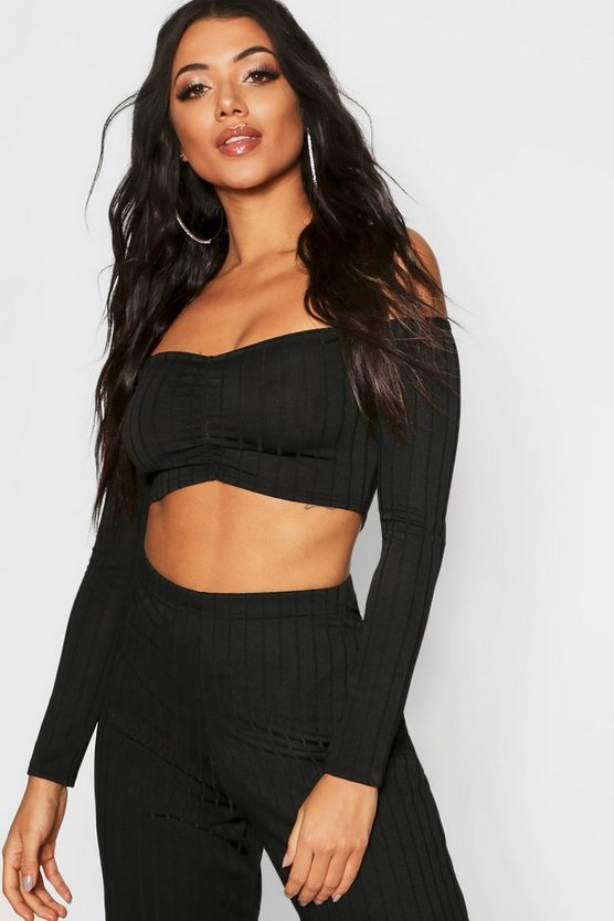 Womens Black Ribbed Off The Shoulder Crop Top