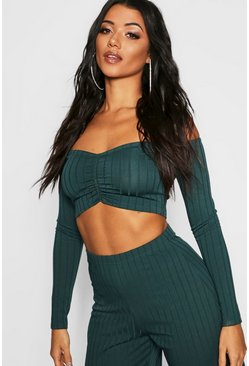 Womens Teal Ribbed Off The Shoulder Crop Top