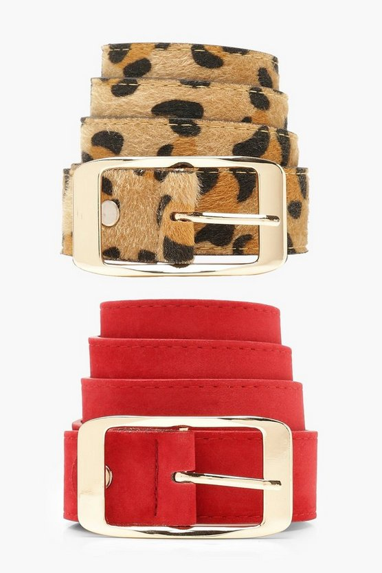 Womens Multi Leopard 2 Pack Boyfriend Belt