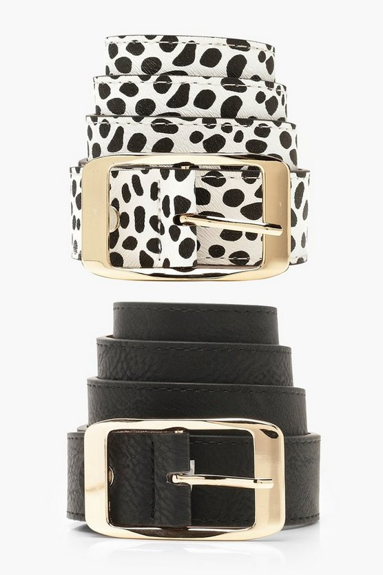 Womens Multi 2 Pack Dalmatian Boyfriend Belt