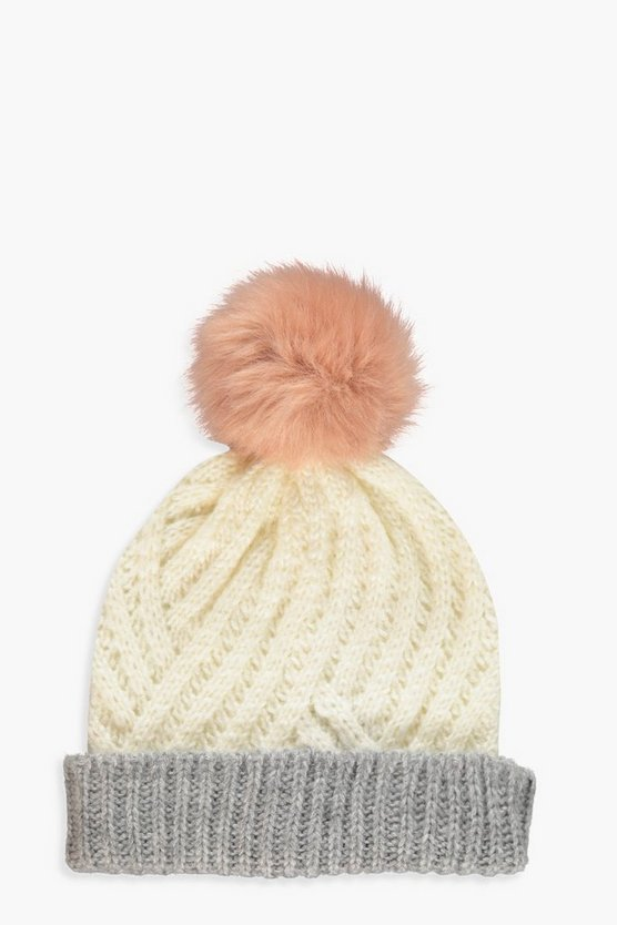 Womens Multi Two Tone Faux Fur Pom Beanie