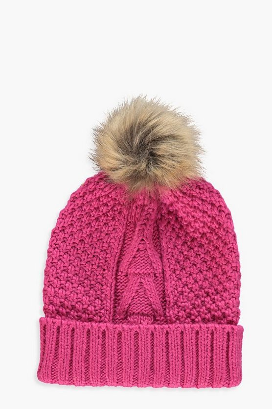 Womens Fushia Natural Faux Fur Pom Beanie