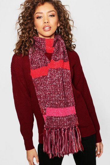 Womens Multi Colourblock Stripe Scarf