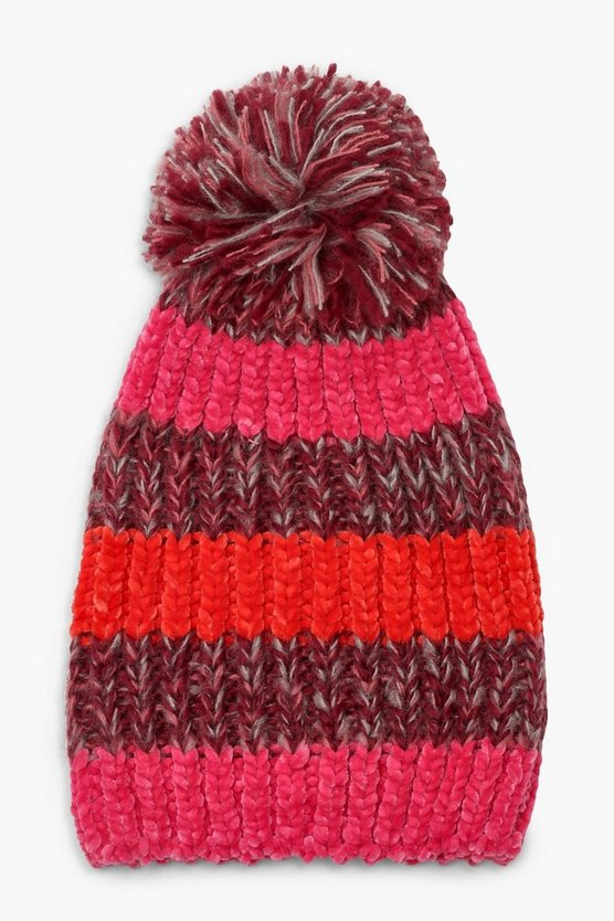 Womens Multi Colourblock Stripe Beanie