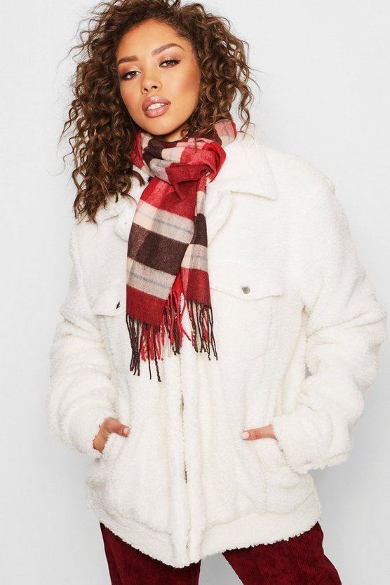 Large Red Check Scarf