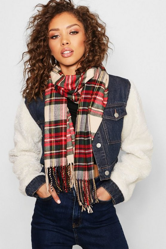 Beige Total Check Scarf