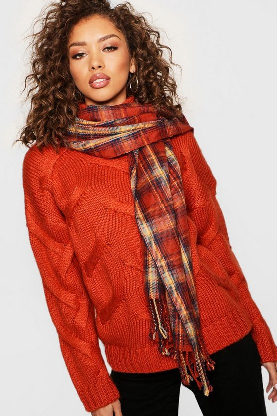 Womens Rust Rust Check Woven Scarf