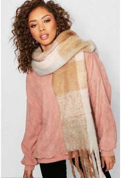 Womens Taupe Oversized Pastel Check Blanket Scarf