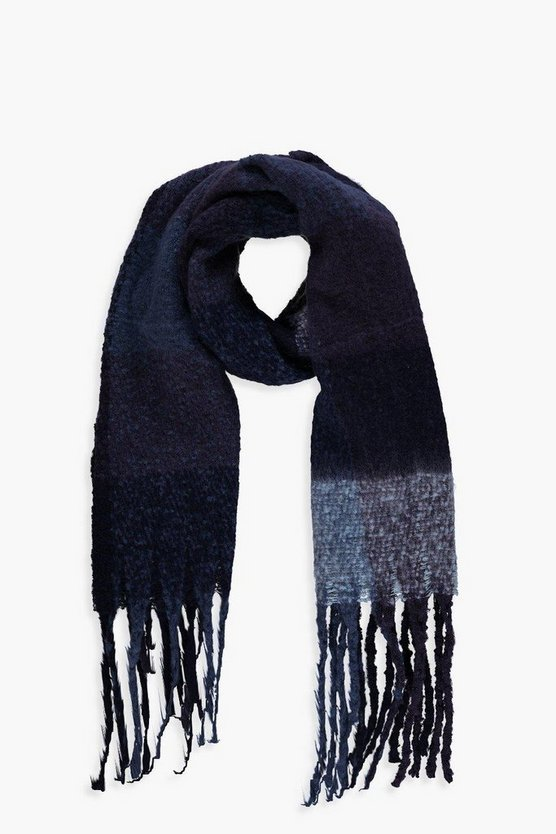 Navy Block Check Blanket Scarf