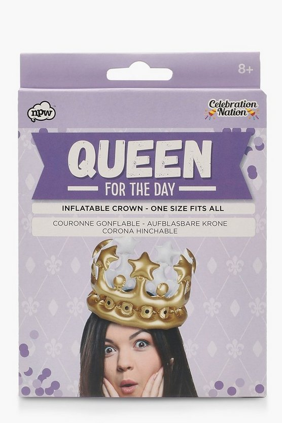 "Corona inflable ""Queen for the Day"", Dorado, Mujer"
