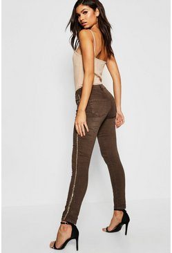 Womens Khaki Sequin Embellished Side Stripe Skinny Jeans