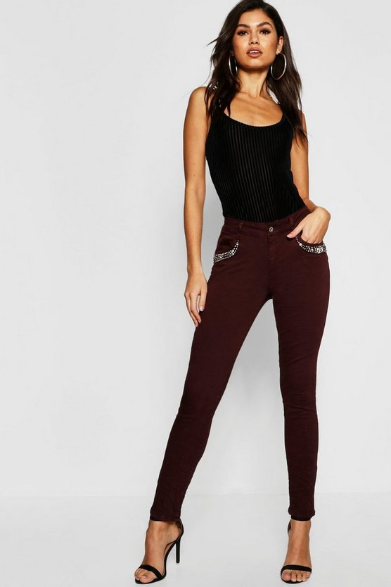 Womens Burgundy Mid Rise Embellished Front Skinny Jeans