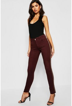 Womens Burgundy Mid Rise Sequin Side Stripe Skinny Jeans