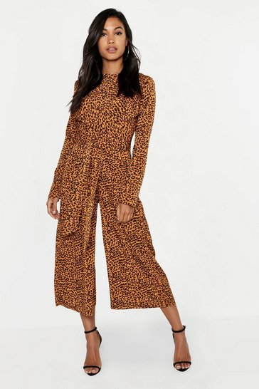 Womens Black Satin Leopard Twist Wrap Jumpsuit