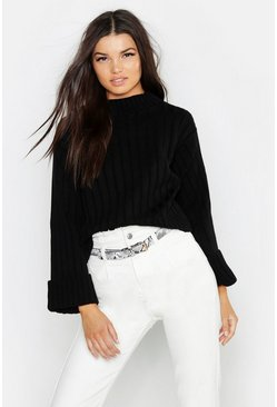 Womens Black Maxi Wide Sleeve Rib Jumper