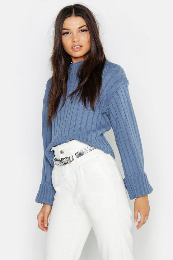 Maxi Wide Sleeve Rib Jumper