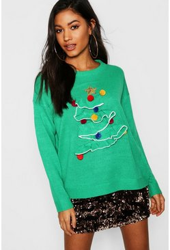 Womens Green 3D Frill Christmas Tree Sweater