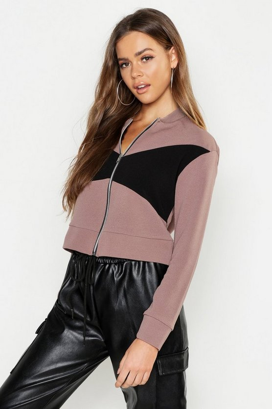 Womens Panelled Bomber Jacket