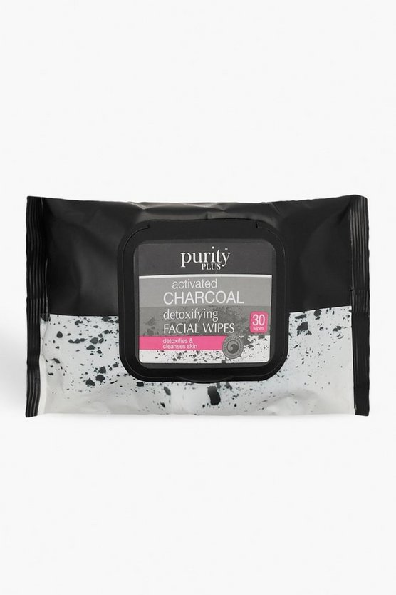 Womens Black Purity Plus Charcoal Face Wipes