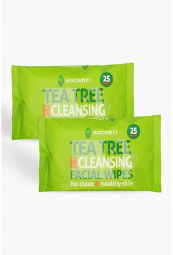 Green Escenti Tea Tree Cleansing Wipes 2 PACK