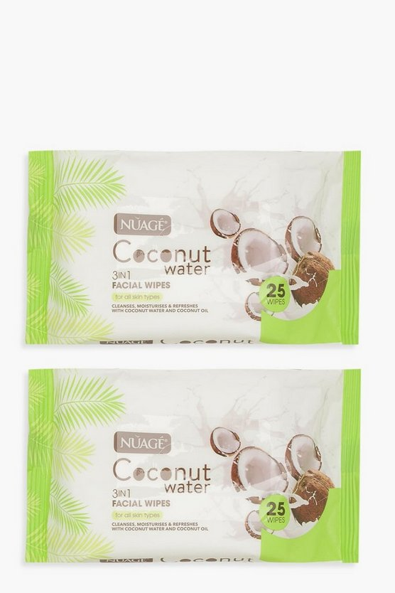 Womens White Coconut Water Face Wipes 2 Pack