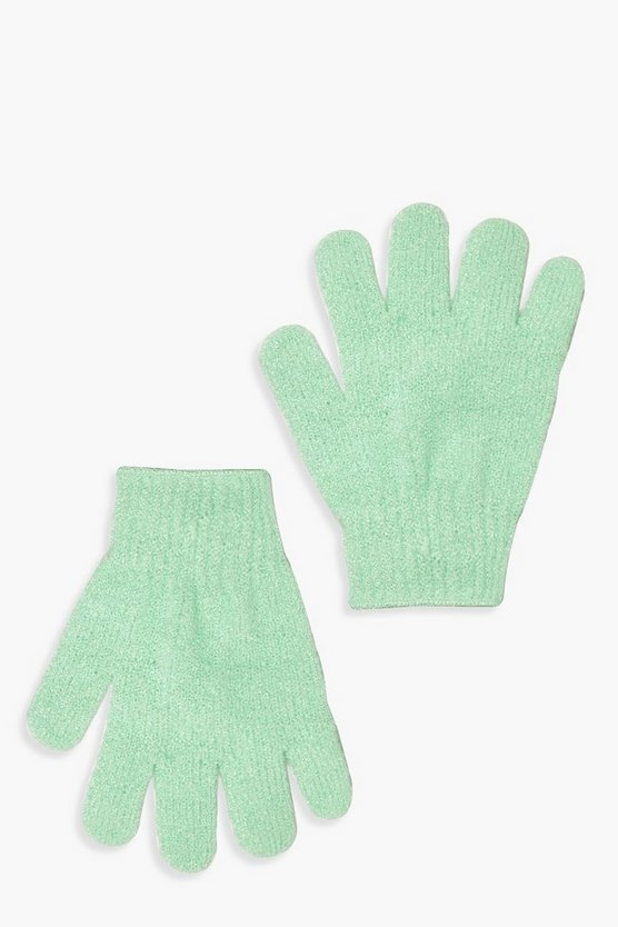 Womens Green Exfoliating Gloves
