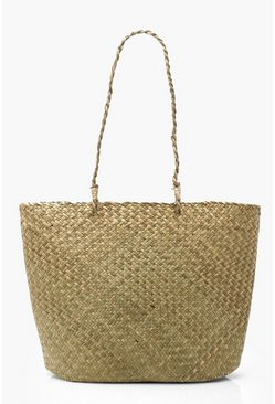 Womens Natural Large Straw Basket Beach Bag