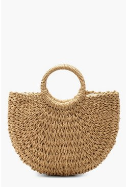Womens Natural Circle Handle Straw Bag - Small
