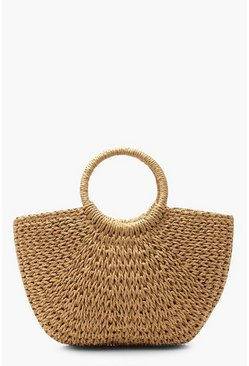 Womens Natural Circle Handle Straw Bag - Large