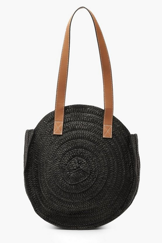 Womens Black Contrast Handle Handmade Round Straw Bag