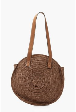 Womens Chocolate Contrast Handle Handmade Round Straw Bag