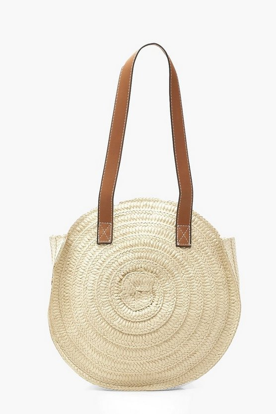 Womens Cream Contrast Handle Handmade Round Straw Bag