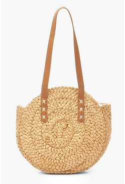 Womens Natural Contrast Stitch Handmade Textured Straw Round Bag
