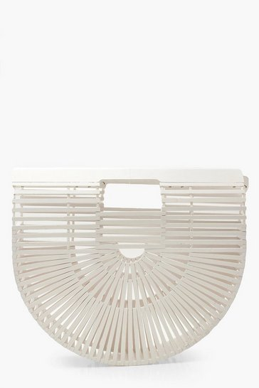 Womens White Wooden Structured Grab Bag - Small