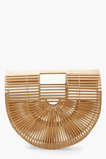 Womens Natural Wooden Structured Grab Bag - Small