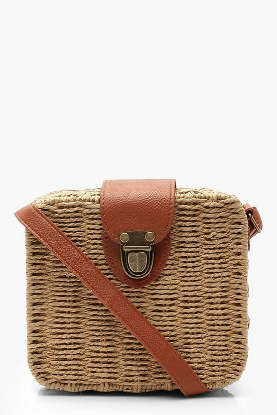 Womens Natural Structured Straw Pushlock Crossbody