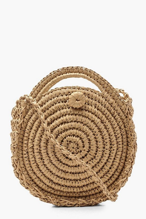 Womens Natural Round Straw Cross Body Bag With Handle