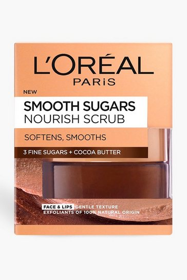 Brown L'Oreal Paris Sugar Nourish Cocoa Face And Lip Scrub 50ml