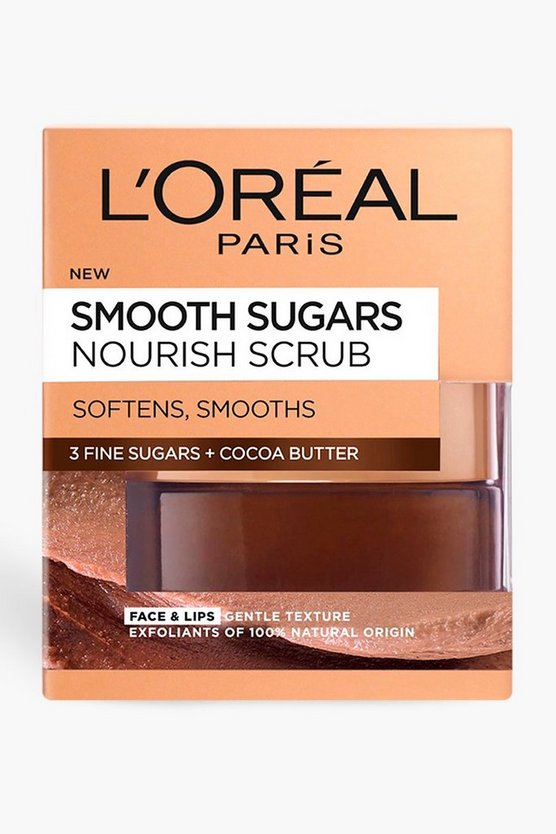 Womens Brown L'Oreal Smooth Sugar Cocoa Face & Lip Scrub