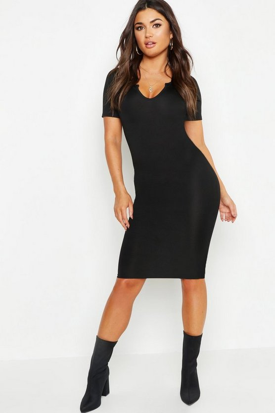 Womens Black Notch Detail Ribbed Midi Dress