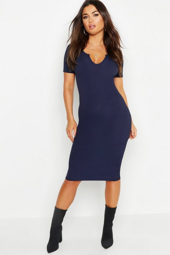 Notch Detail Ribbed Midi Dress