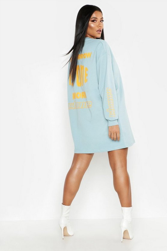 One More Chance Back Print Oversized Sweat Dress