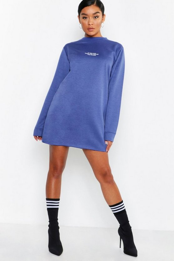 Too Close Long Sleeve Slim Sweat Dress