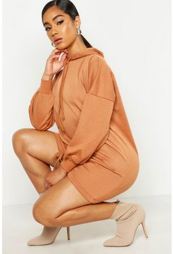Womens Camel Hooded Cord Hem Oversized Sweat Dress
