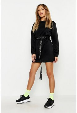 Womens Black Long Sleeve Slim Sweat Dress