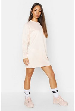 Womens Nude Long Sleeve Slim Sweat Dress