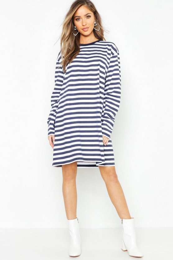 Womens Navy Cotton Long Sleeve Stripe T-Shirt Dress