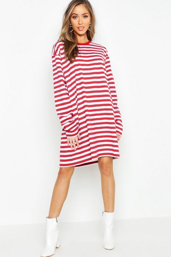 Cotton Long Sleeve Stripe T-Shirt Dress